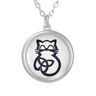 Black Trinity Knot Celtic Cat Necklace