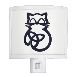Black Trinity Knot Celtic Cat Night Light