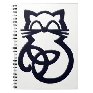 Black Trinity Knot Celtic Cat Notebook