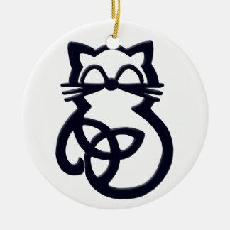 Black Trinity Knot Celtic Cat Ornament