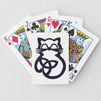 Black Trinity Knot Celtic Cat Playing Cards