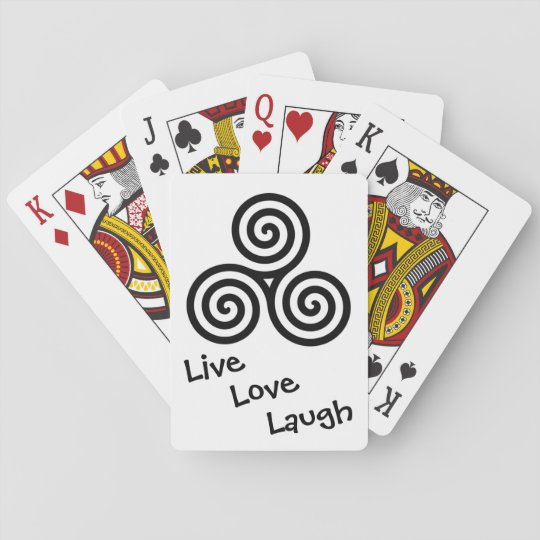 Black Triple spiral Live Love Laugh Playing Cards