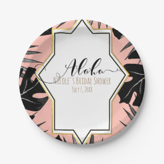 Black Tropical Leaves & Coral Peach Gold Wedding Paper Plate