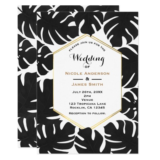 Black Tropical Leaves White & Gold Chic Wedding Card
