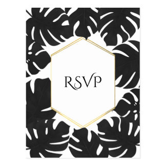 Black Tropical Leaves White & Gold Wedding RSVP Postcard