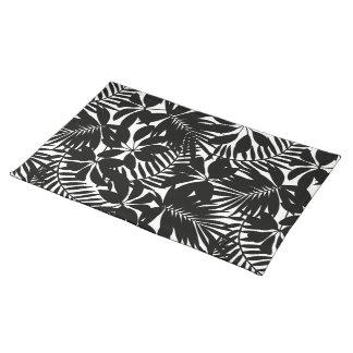 Black tropical placemat