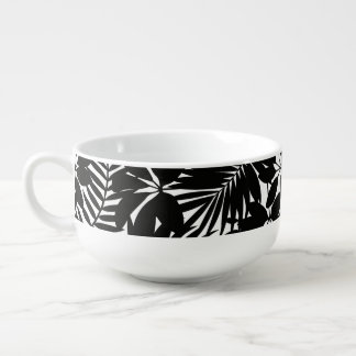 Black tropical soup mug