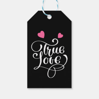 Black True Love Pink Hearts Wedding Bridal Shower Gift Tags