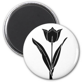 Black Tulip, Black and White, Flower Floral 2 Inch Round Magnet