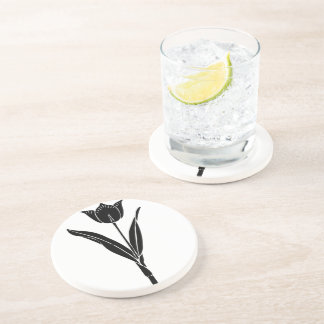Black Tulip, Black and White, Flower, Floral Drink Coasters