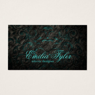 Black & Turquiose Ornament Interior Designer Card