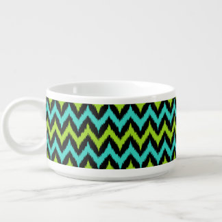 Black, Turquoise and Green Zigzag Ikat Pattern Chili Bowl