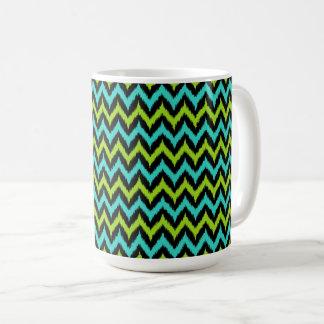 Black, Turquoise and Green Zigzag Ikat Pattern Coffee Mug