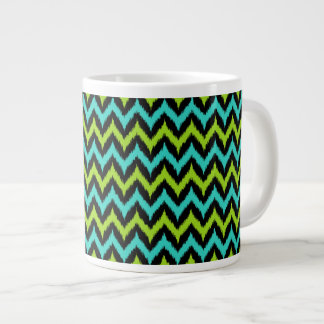 Black, Turquoise and Green Zigzag Ikat Pattern Giant Coffee Mug