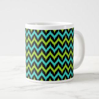 Black, Turquoise and Green Zigzag Ikat Pattern Large Coffee Mug