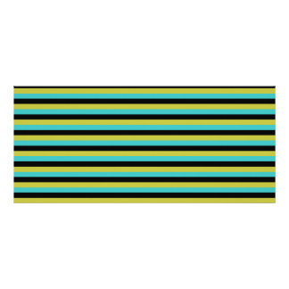 Black Turquoise and Yellow Stripes Rack Card Template