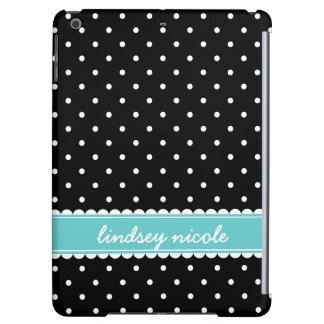 Black & Turquoise Cute Polka Dots Custom Monogram iPad Air Case