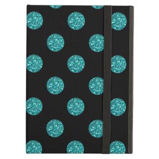 Black turquoise glitter polka dots iPad air cover