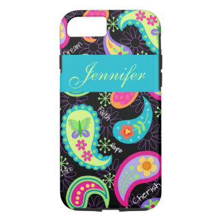 Black Turquoise Modern Paisley Name Personalized iPhone 7 Case