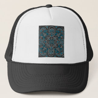 Black turquoise night trucker hat