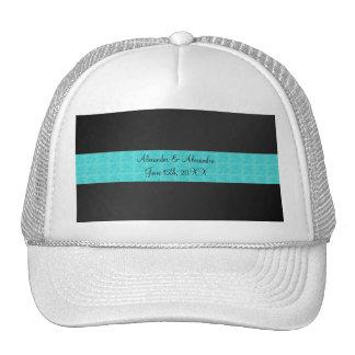 Black turquoise roses wedding favors trucker hat