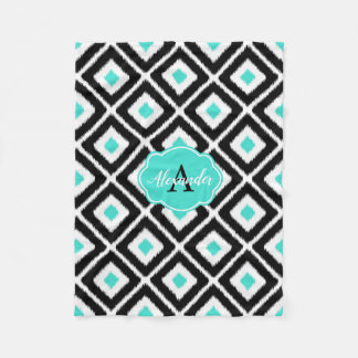 Black, Turquoise, White Ikat Diamond Pattern Fleece Blanket