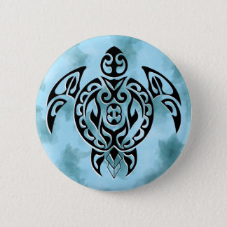 Black turtle 3 in blue 2 inch round button