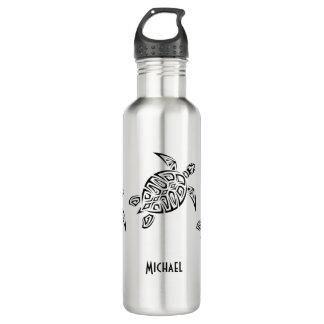 Black Turtle Tribal Monogram 710 Ml Water Bottle