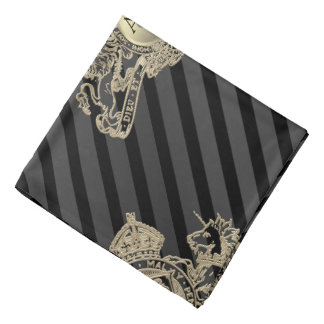 Black Tux White Gold Emblem Monogram Lapel Pocket Bandana