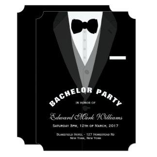 Black Tuxedo Bachelor Party Card