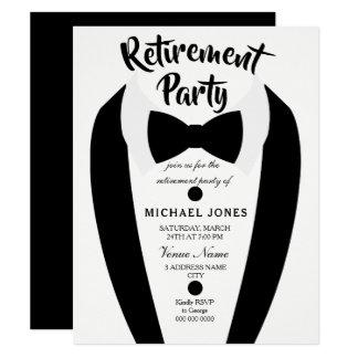 Black Tuxedo Bow Tie Retirement Party Invite