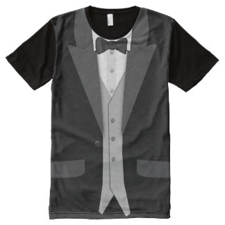 Black Tuxedo Bowtie and Vest All-Over-Print T-Shirt