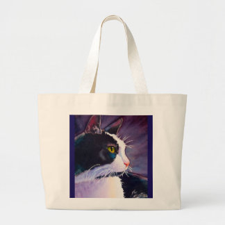 Black Tuxedo Cat in Stormy Mood Large Tote Bag