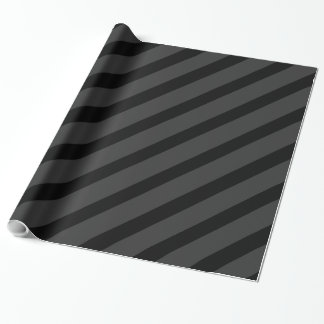 Black Tuxedo Charcoal Grey Fat Diagonal Stripe Wrapping Paper