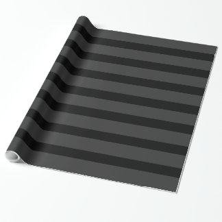 Black Tuxedo Charcoal Grey Fat Stripe Wrapping Paper