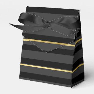Black Tuxedo Charcoal Grey Wide Stripe Gold Formal Favor Box