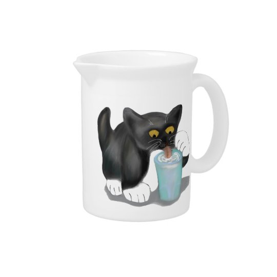 Black Tuxedo Kitten Sneaks a Glass of Milk Pitchers