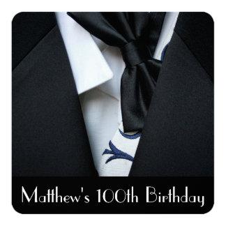 Black Tuxedo Men's 100th Birthday Party Invitation
