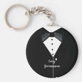 Black Tuxedo Personalized Groomsman Keychain