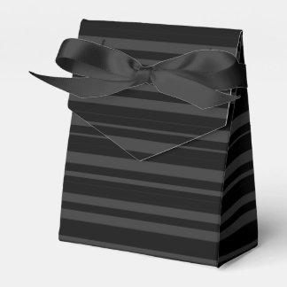 Black Tuxedo Velvet Multi Stripe Charcoal Grey Favor Box