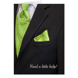 black tuxedo wedding attendant request card