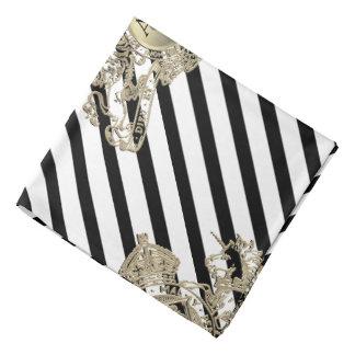 Black Tuxedo White Gold Lion Emblem Lapel Pocket Bandana