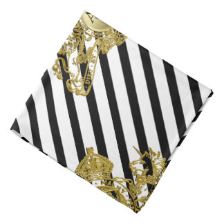 Black Tuxedo White Gold Lion Emblem Lapel Pocket Bandana
