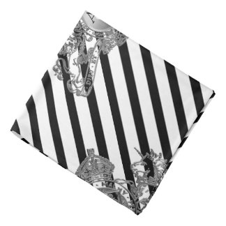 Black Tuxedo White Silver Lion Emblem Lapel Pocket Bandana