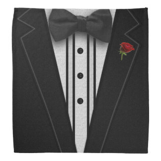 Black Tuxedo with Bow Tie Bandana
