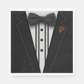 Black Tuxedo with Bow Tie Disposable Napkins