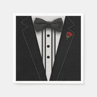 Black Tuxedo with Bow Tie Paper Napkin