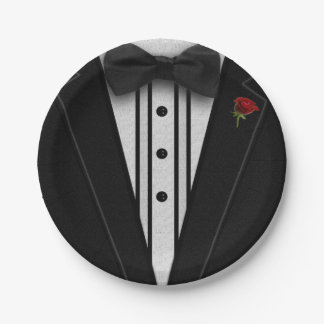 Black Tuxedo with Bow Tie Paper Plate