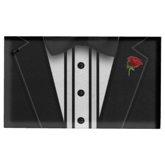 Black Tuxedo with Bow Tie Table Card Holder