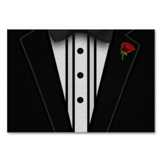 Black Tuxedo with Bow Tie Table Cards